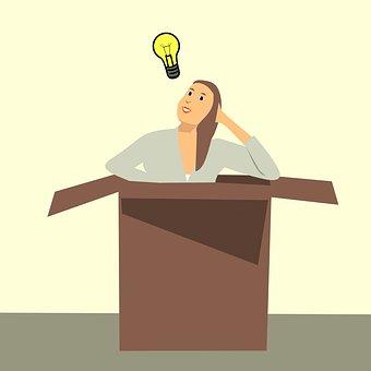 思考のボックス, 漫画のキャラクター, アイデア, ボックス, 電球, 光, 外