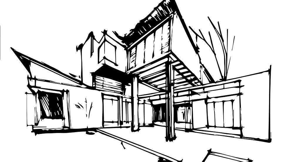 Skizze Architektur Monochrom Bw Abbildung Grafiken