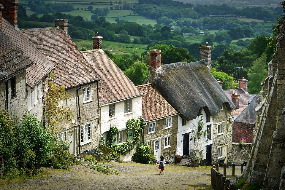 Dorf, Landschaft, England