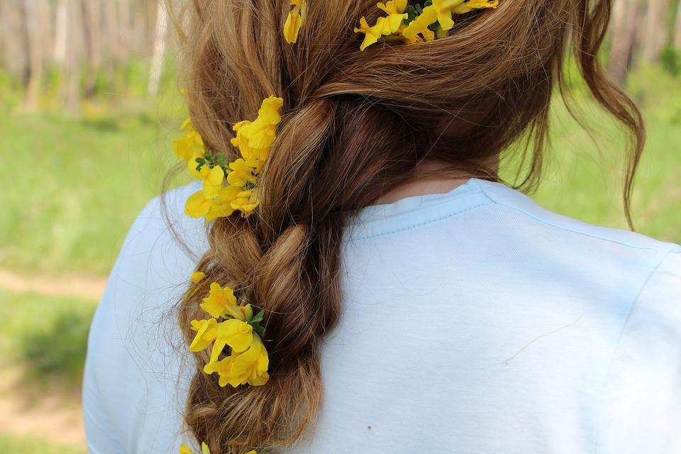 Girl, Pigtail, Flowers In Her Hair, Hair