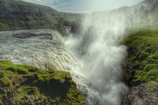 Gullfoss, Waterfall, Enormous, Iceland