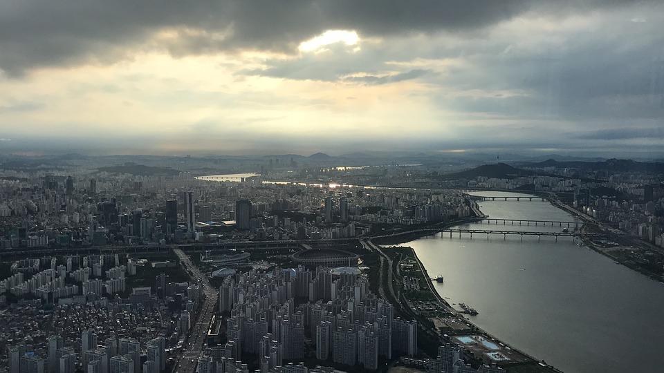 Seul, Korea Południowa, Lotte, Wieża, Zachód Słońca