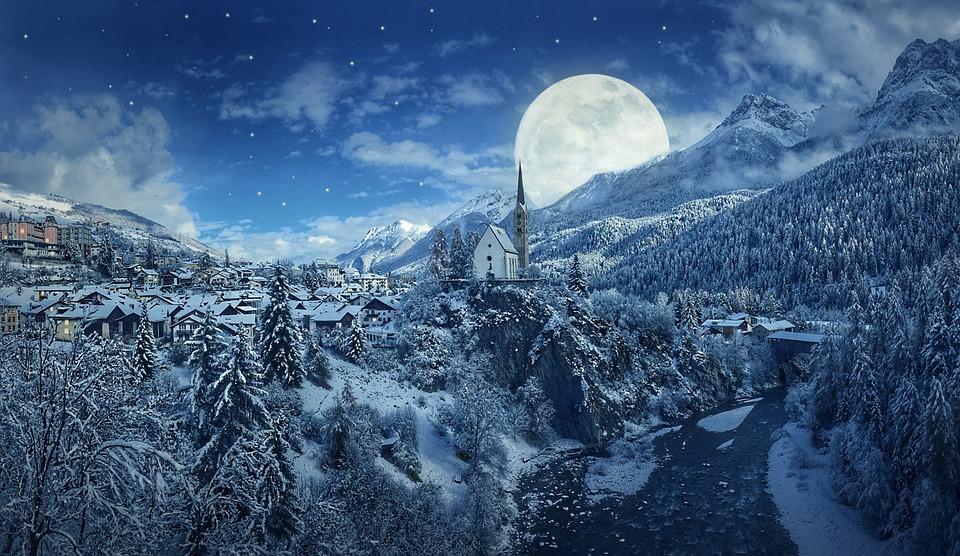 winter snow mountain moon - photo #3