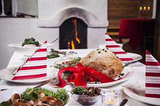 壁炉, 圣诞节, 圣诞节午餐, 节日, 火, 节日快乐, 节日的问候, 设置