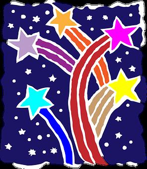 Stars, Colorful, Shooting, Burst