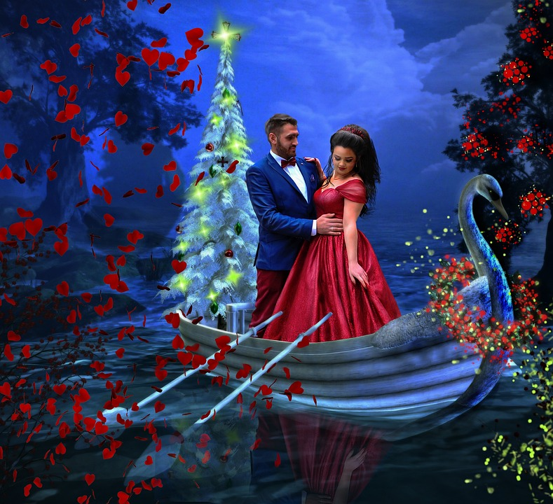 christmas couple greeting card love holiday winter