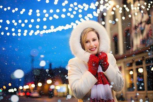 Christmas, Woman, Lights, Snow