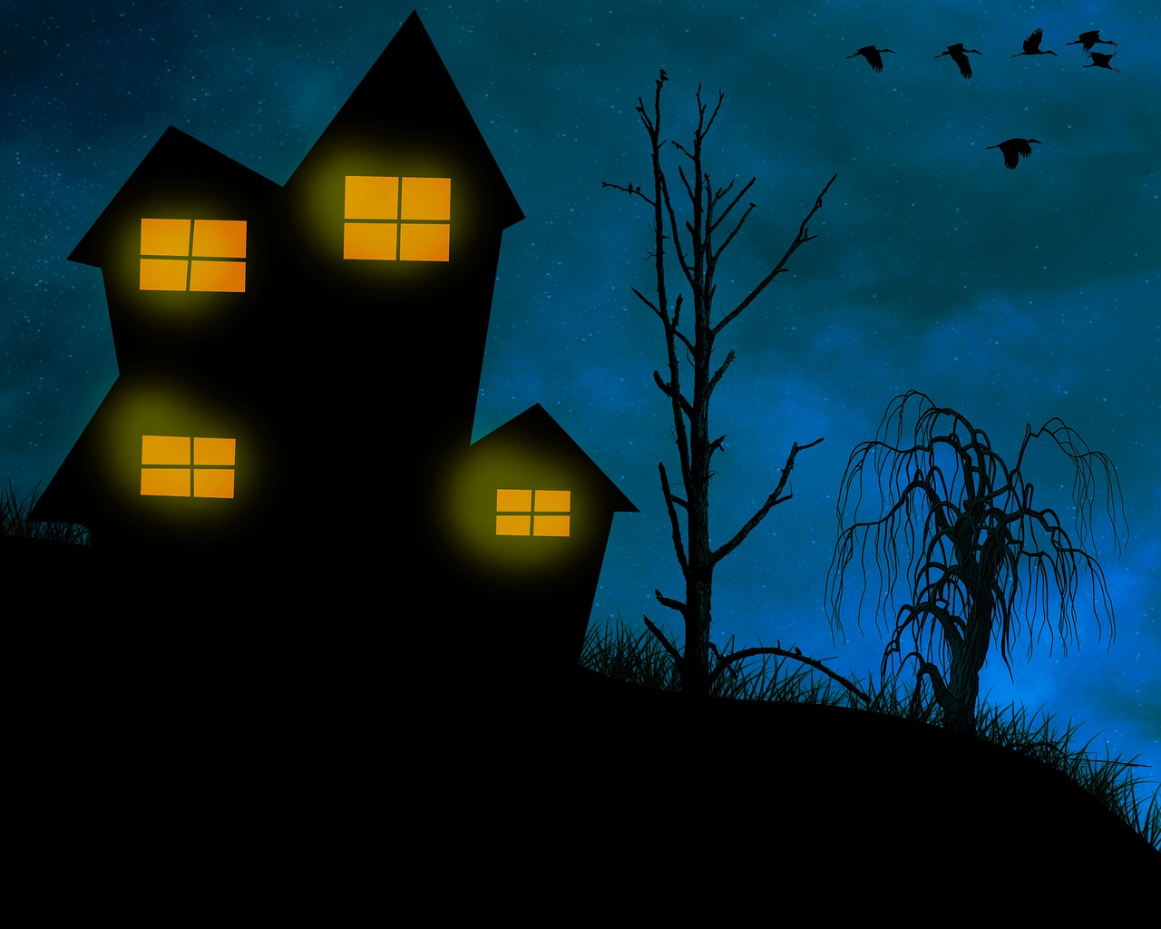 домики ночью картинки архитектурном плане она