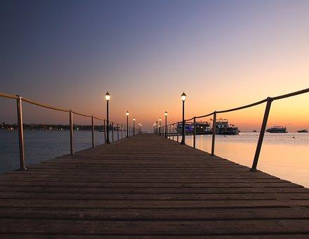 長期暴露, 日の出, 空, ウェブ, ランプ, 光, ボート, 投資家, 船