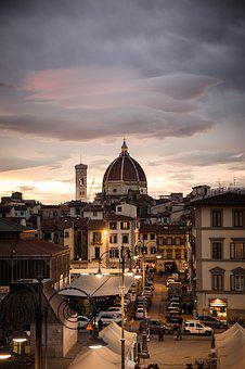 Florence, Evening, City, Street, Sunset