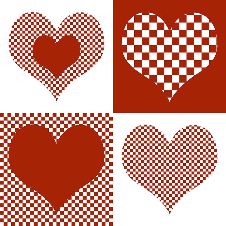 心脏, 心, 心形图案, 情人节, 浪漫, 感情, 背景, 红色, 运气, 贺卡