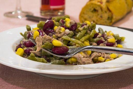 Salad, Beans, Corn, Fish, Tuna, Food