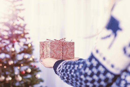 Weihnachten, Hand, Geschenk, Dekoration