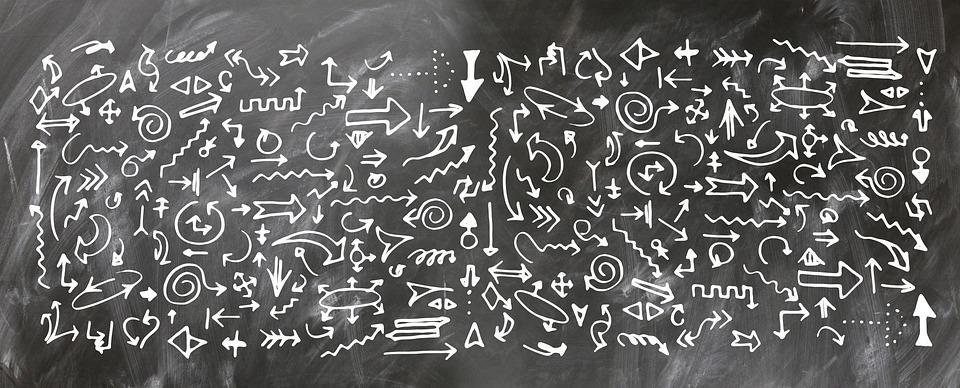 矢印, ボード, 学校, 黒板, フォーム, 多くの, 方向, 右, 次の, ストレート, 地区, リサイクル