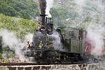 steam locomotive, departure, slope