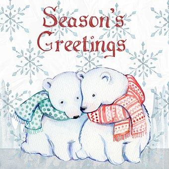 Christmas, Watercolor, Ice Bears, Snow