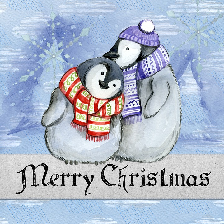 Merry Christmas, Penguin, Watercolor, Card, Winter