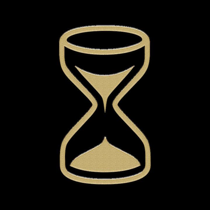 Sablier, Horloge, Icône, Sable, Or, Élément, Verre