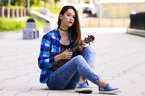 Girl, Ukulele, Portrait Of A Girl