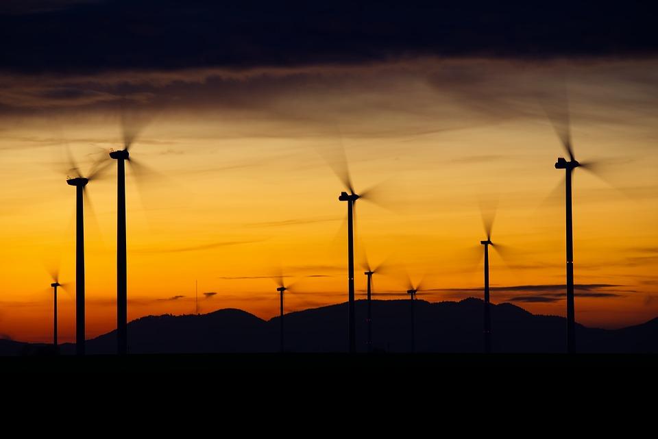 Windräder, 풍력, 에너지, 푸른, 환경 기술, 회전자, 현재, 회전, 발전, 풍력 에너지