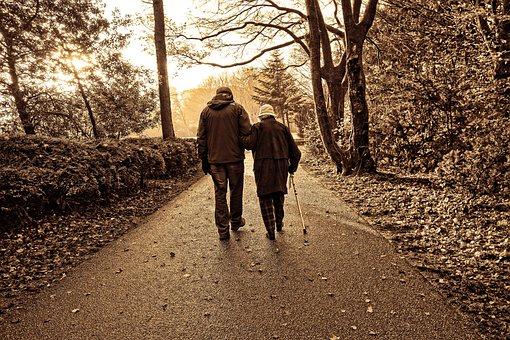 Elderly couple walking in a park