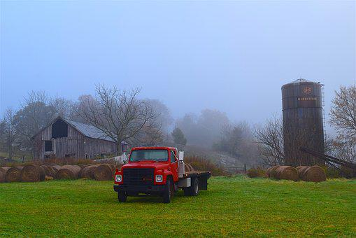 Farm, Truck, Silo, Rustic, Country