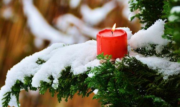 Kerze, Flamme, Winter, Ast, Zweige