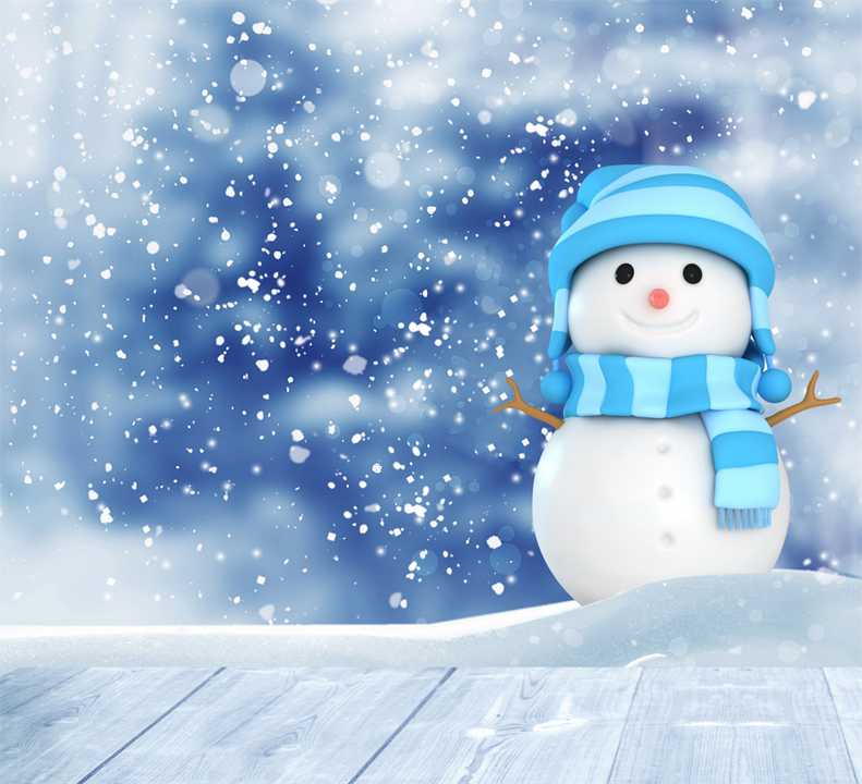snowman blue background scarf