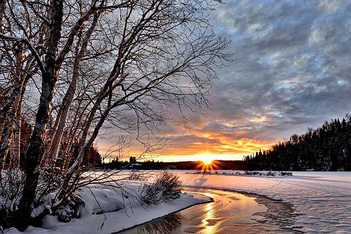 Winter Landscape, Sunset, Twilight