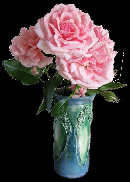 Rosen Rosa Grüne Vase Kostenloses Foto Auf Pixabay