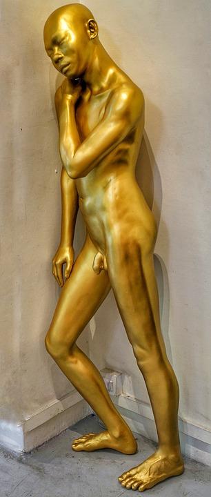 萌男裸体艺术_艺术, 雕塑, 男, 男子, 裸, 裸体, 站在, 倾斜, 墙, 缅甸
