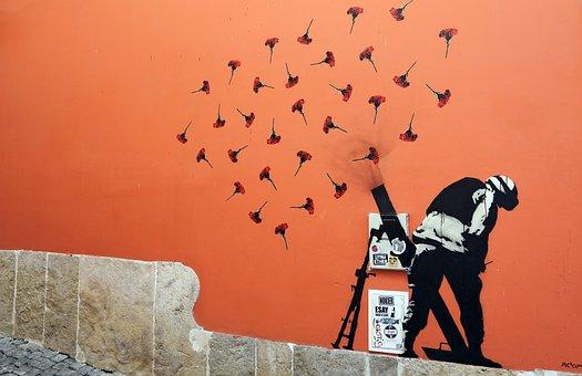 Graffiti, Rue, Art, Contre La Guerre