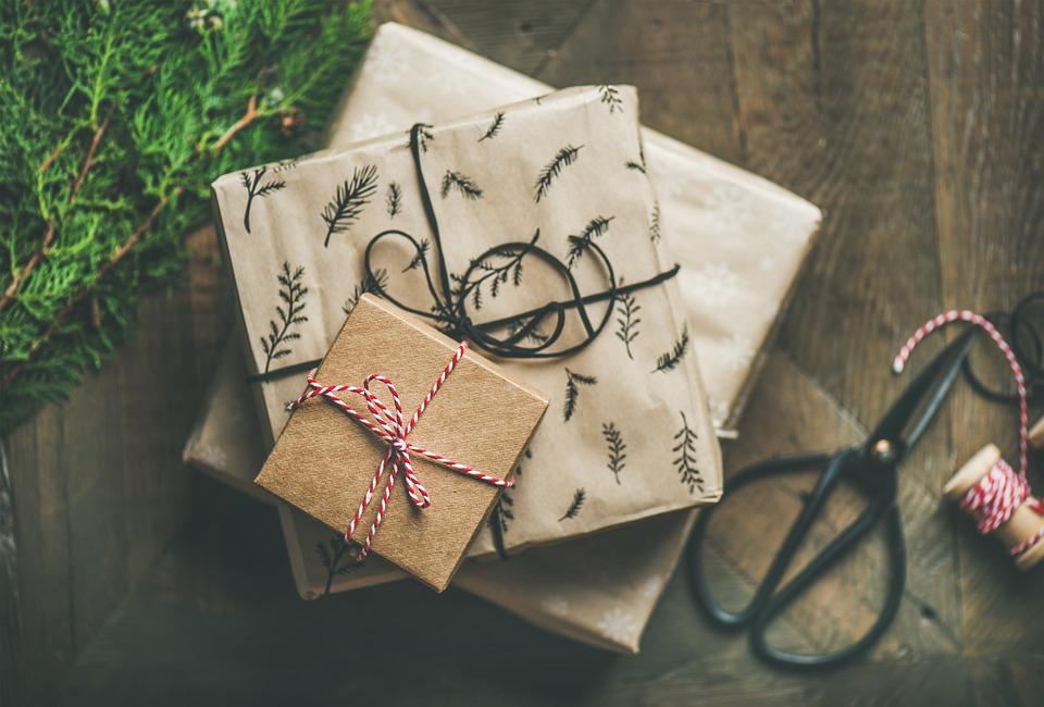 ギフト, バックグラウンド, 装飾, 現在, クリスマス, Christmasbackground