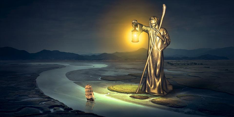 ファンタジー, 川, 像, ランタン, 光, 船, 夜, 風景, 自然, 構成します, 神秘主義, 神秘的な