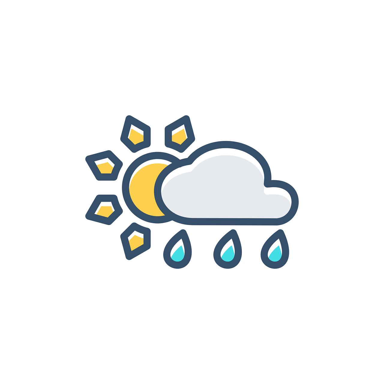 Gunes Bulut Yagmur Pixabay Da Ucretsiz Vektor Grafik