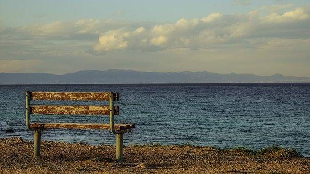 长凳, 海边, 海, 地平线, 天空, 云, 观点, 海景, 风景, 冬天