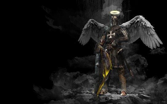 ナイト, 天使, 中世, 神聖な, 鎧, 背景, シールド, 剣, ハロー, 翼
