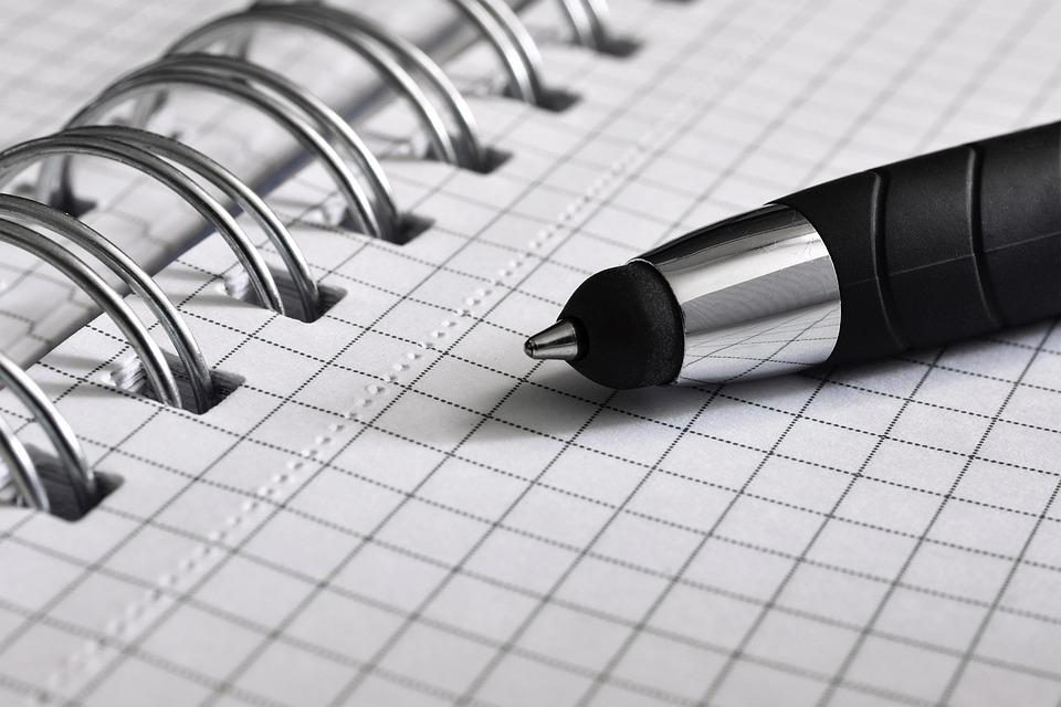 Kugelschreiber, Stift, Karo, Papier, Büro