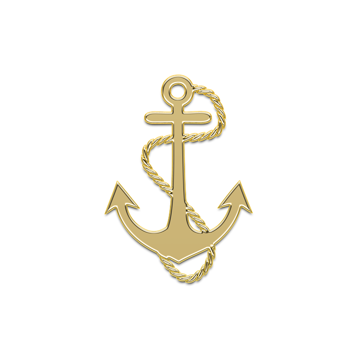 Anchor Marine Sea Ship Golden Decor Gold Sailor
