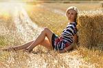 girl, haystack, field