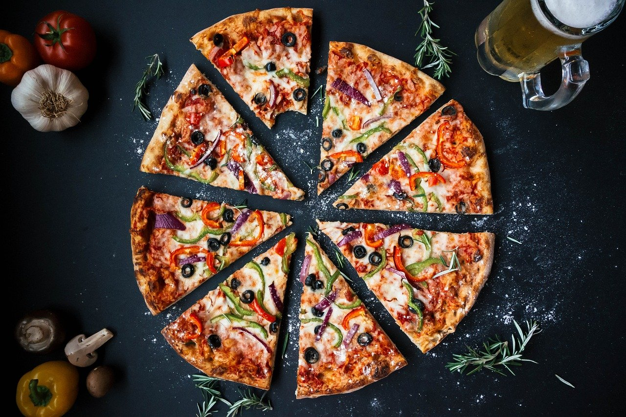 eight slices of pizza
