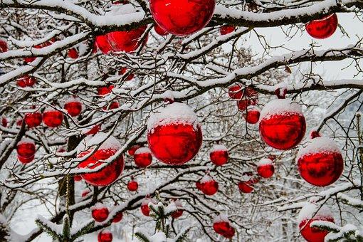 Christmas, Winter, Tree, Snow, Balls