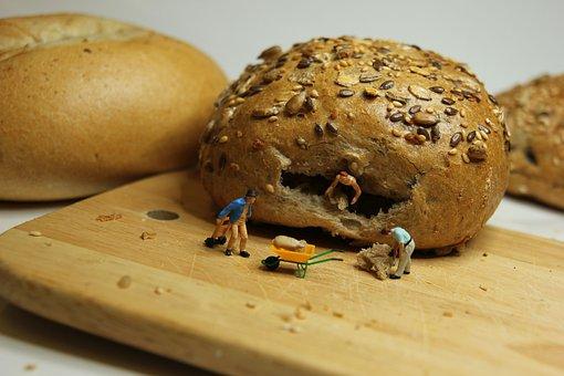 Breakfast, Roll, Miniature Figures, Food