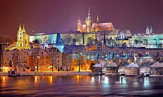 Prague, Winter, Night, Snow