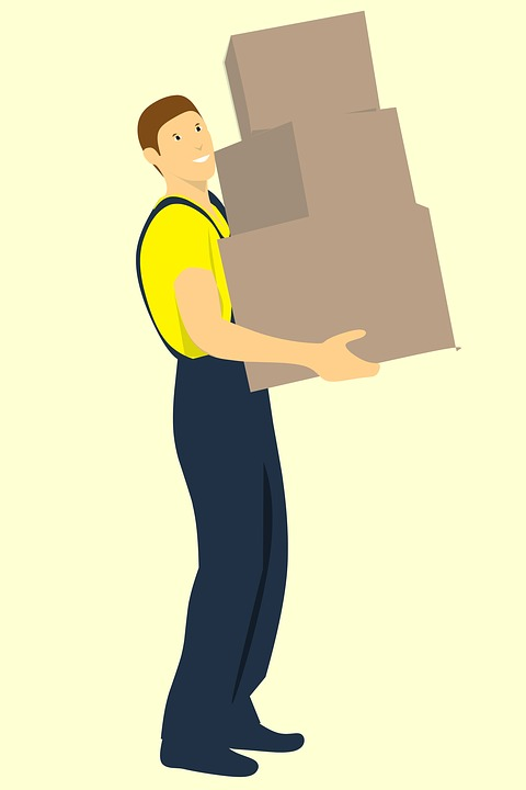 Workman, Delivers, Three Boxes, Isolated, Box Mover for an Amazon Delivery Service Partner