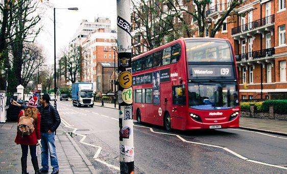 バス, ロンドン, 人, イングランド, 市, 旅行, イギリス, 英国, 観光