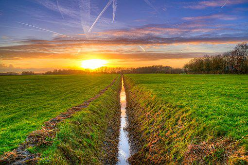 Rów, Zachód Słońca, Hdr, Łąki, Rolnictwo