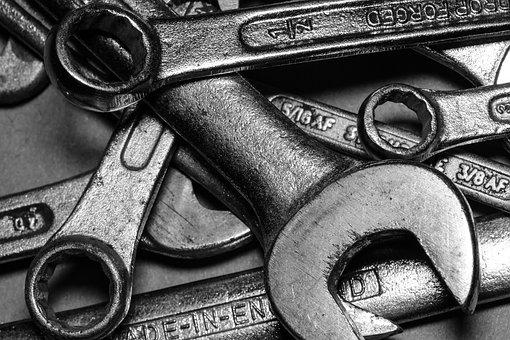スパナ, ツール, レンチ, 機器, 修理, 仕事, 金属, 楽器