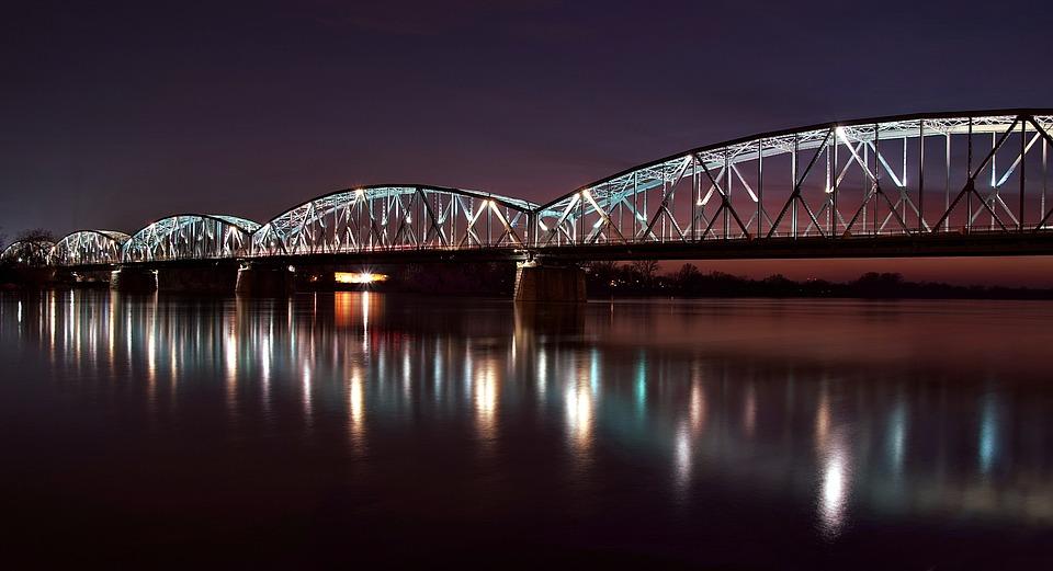 Most, Toruń, Wisła, Nocne, Podświetlony, Żelazny, Łuki