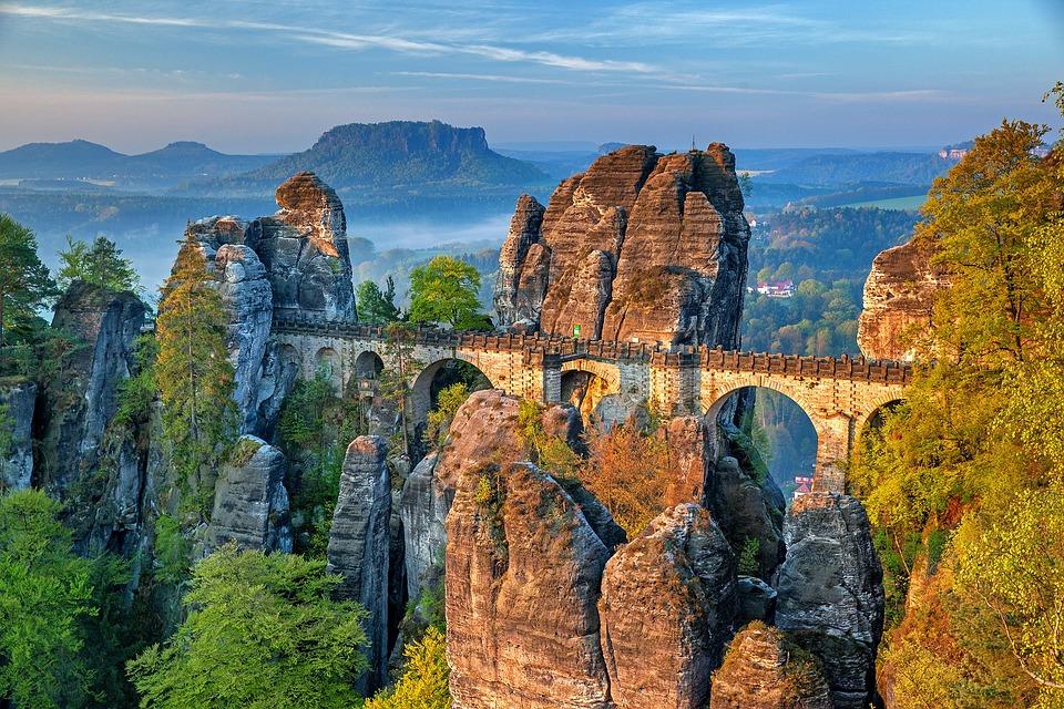 Berge, Landschaft, Brücke